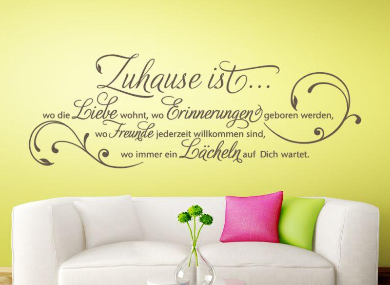 wandtattoo wandsticker wandaufkleber flur wohnzimmer spruch zuhause liebe w942 ebay. Black Bedroom Furniture Sets. Home Design Ideas