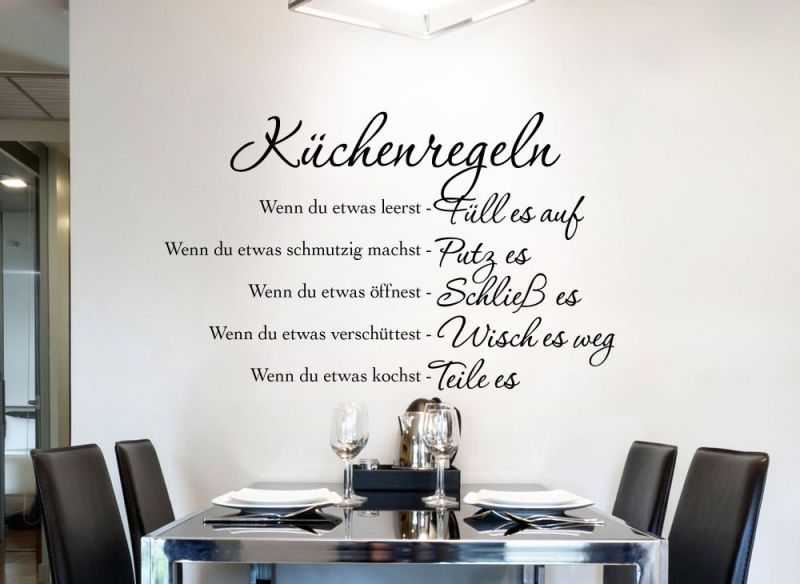 wandtattoo wandsticker wandaufkleber k che wohnzimmer spr che k chenregeln w1149 ebay. Black Bedroom Furniture Sets. Home Design Ideas