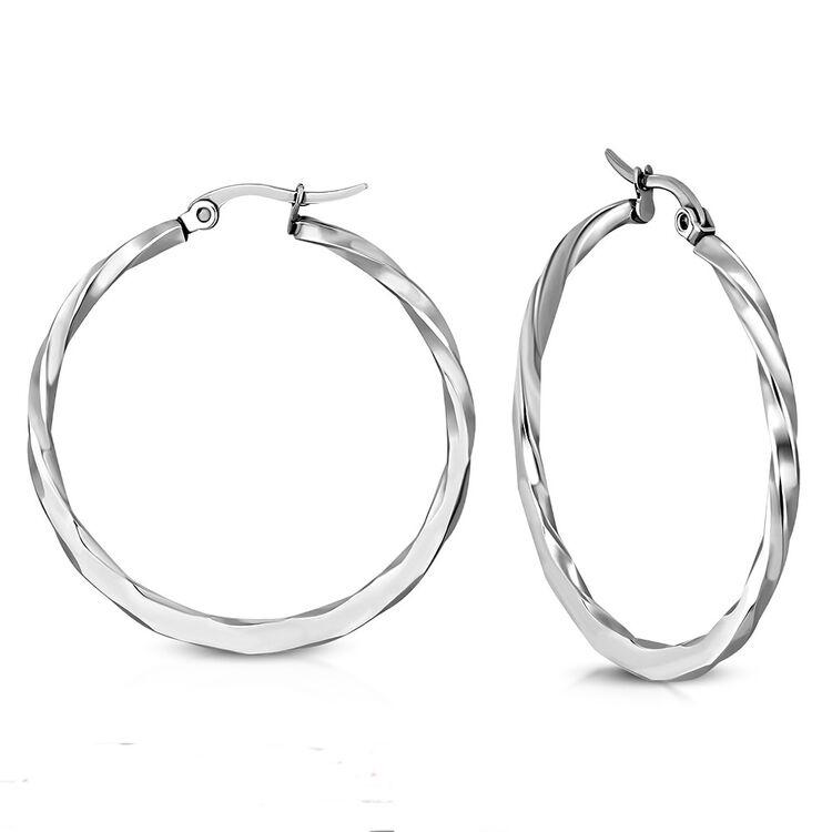 Ohrringe Creolen Edelstahl Silberfarben Gehämmert Durchmesser 4 cm und 4,5 cm