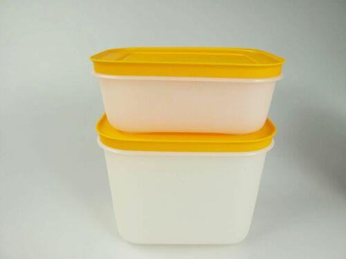 2 Behälter Kristall Eiskristall TUPPERWARE Gefrier-Behälter 450 ml weiß-pink