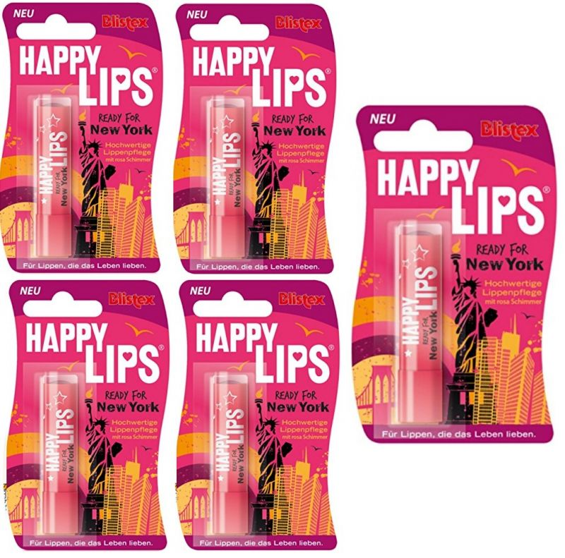 69,72€/100g) 5x Blistex Happy Lips Ready for New York Lippenstift ...
