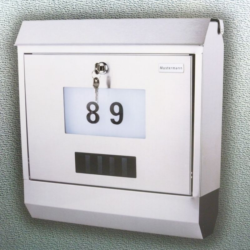 bella casa solar edelstahl briefkasten mit 4 leds inkl zeitungsfach ebay. Black Bedroom Furniture Sets. Home Design Ideas
