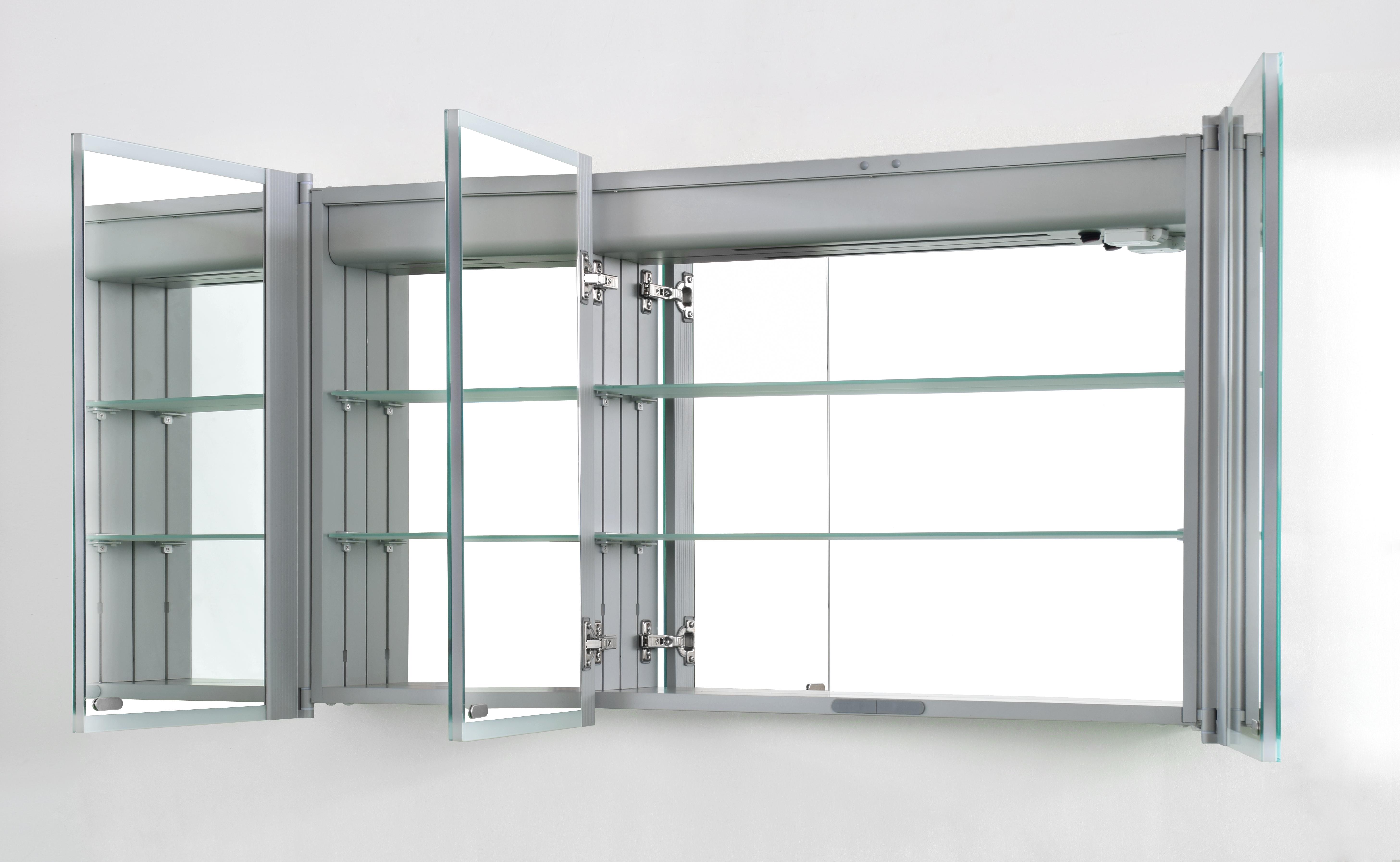 Spiegelschrank 160 Cm.Details Zu Spiegelschrank Mit Led Beleuchtung Alu Korpus Skyline Breite 80 100 120 160 Cm