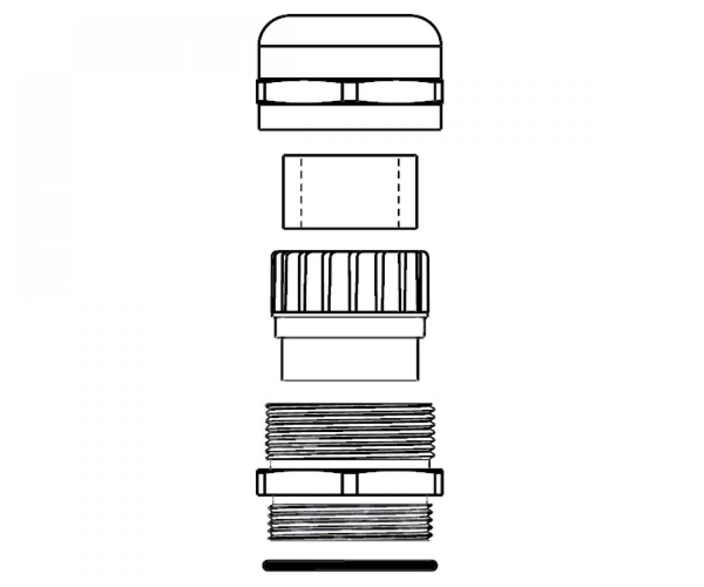 1x Kabelverschraubung M12x1,5 inkl Gegenmutter IP68, Messing vernickelt