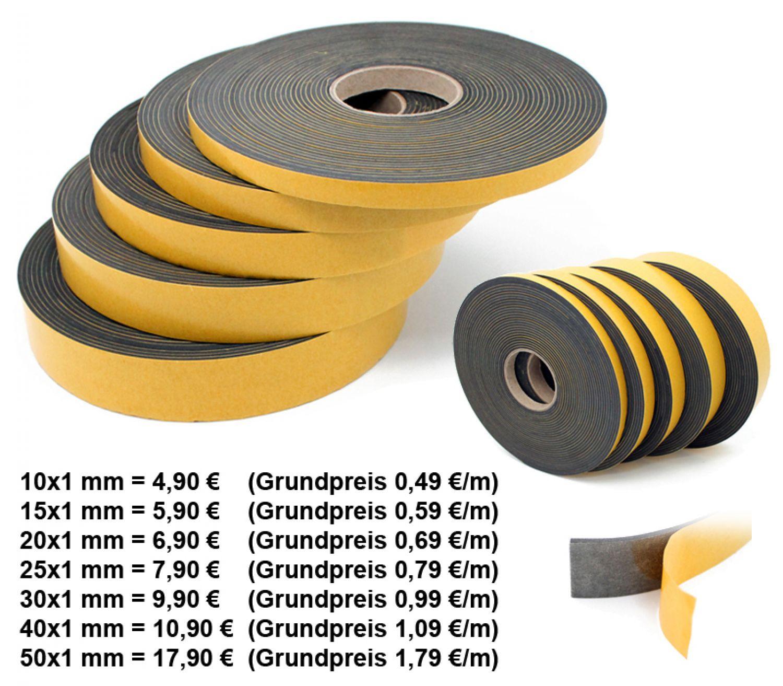 EPDM, 30mm x 1mm Dichtband EPDM einseitig selbstklebend 10m Rolle