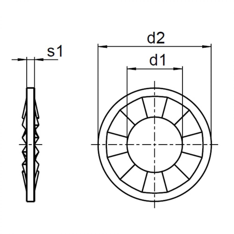 10 St/ück F/ächerscheiben DIN 6798 Edelstahl A2 Form J Edelstahl V2A, M6