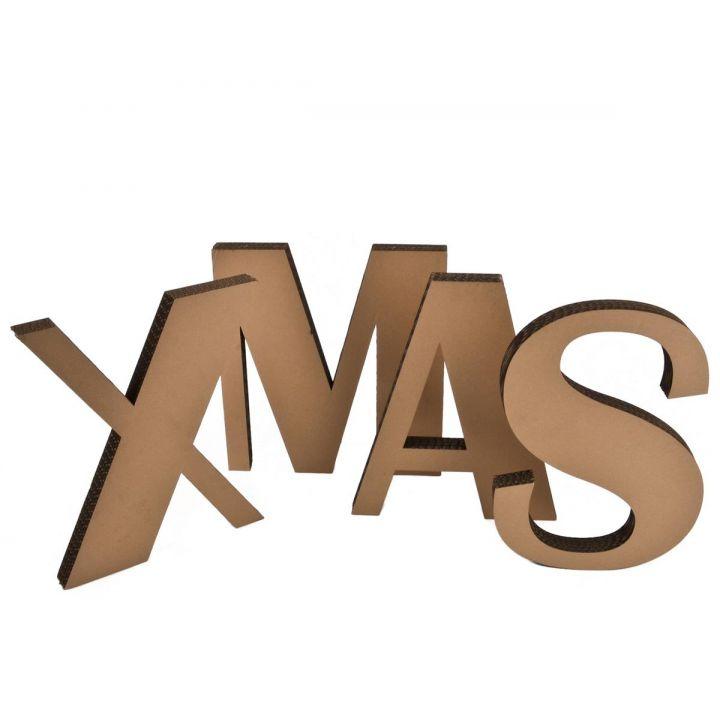 Xmas Schriftzug Buchstaben Design Deko Pappe 20x17x3,5cm braun ...