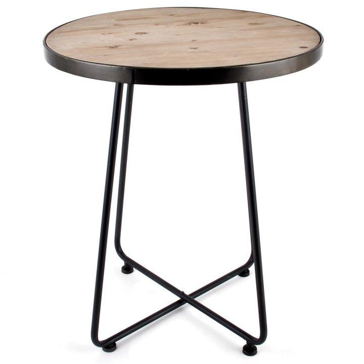 Tisch Rund Art Deco Design Metall Holz 68x56x56cm Braun Grau