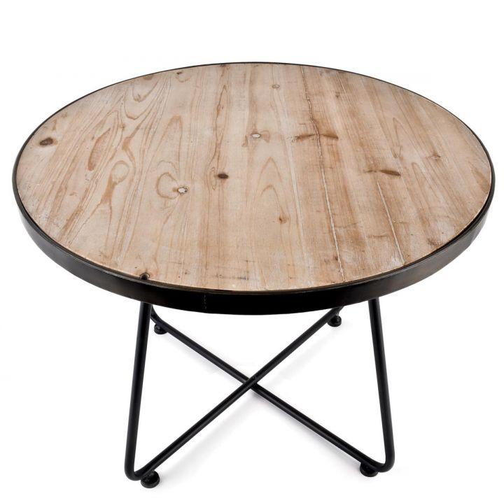 Tisch rund art deco design metall holz 48x46x46cm braun for Design tisch holz metall