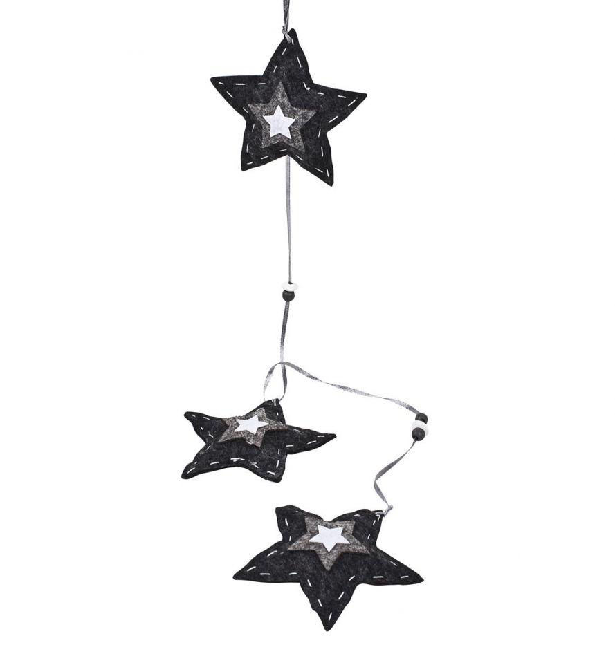 """Girlande /""""Sternengirlande/"""" Hellgold L2,7m Perlenkette mit Sternen Baumkette"""