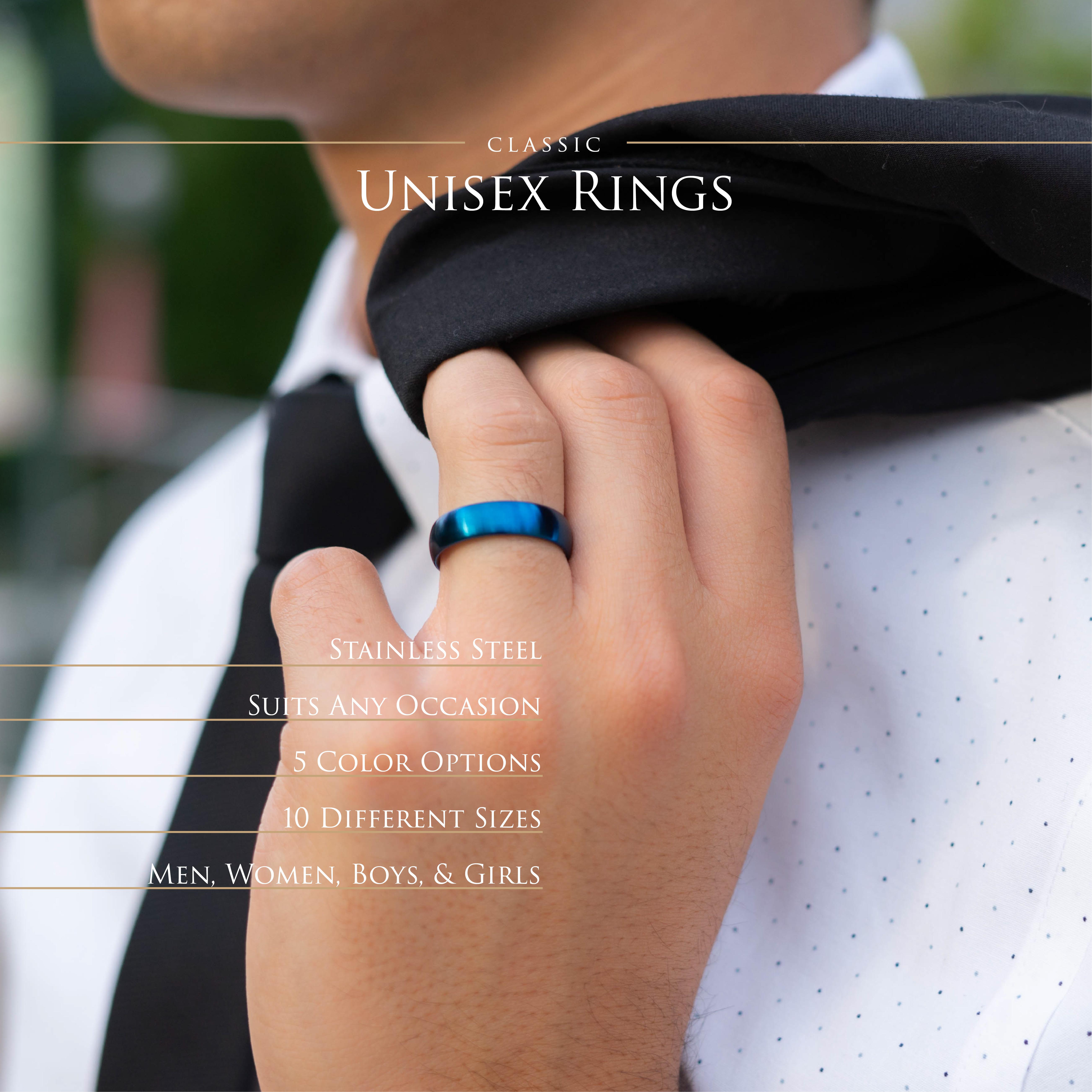 Ring-klassisch-matt-Silber-aus-Edelstahl-Unisex-Damen-Herren-Schwarz-Ringe-Gold Indexbild 63