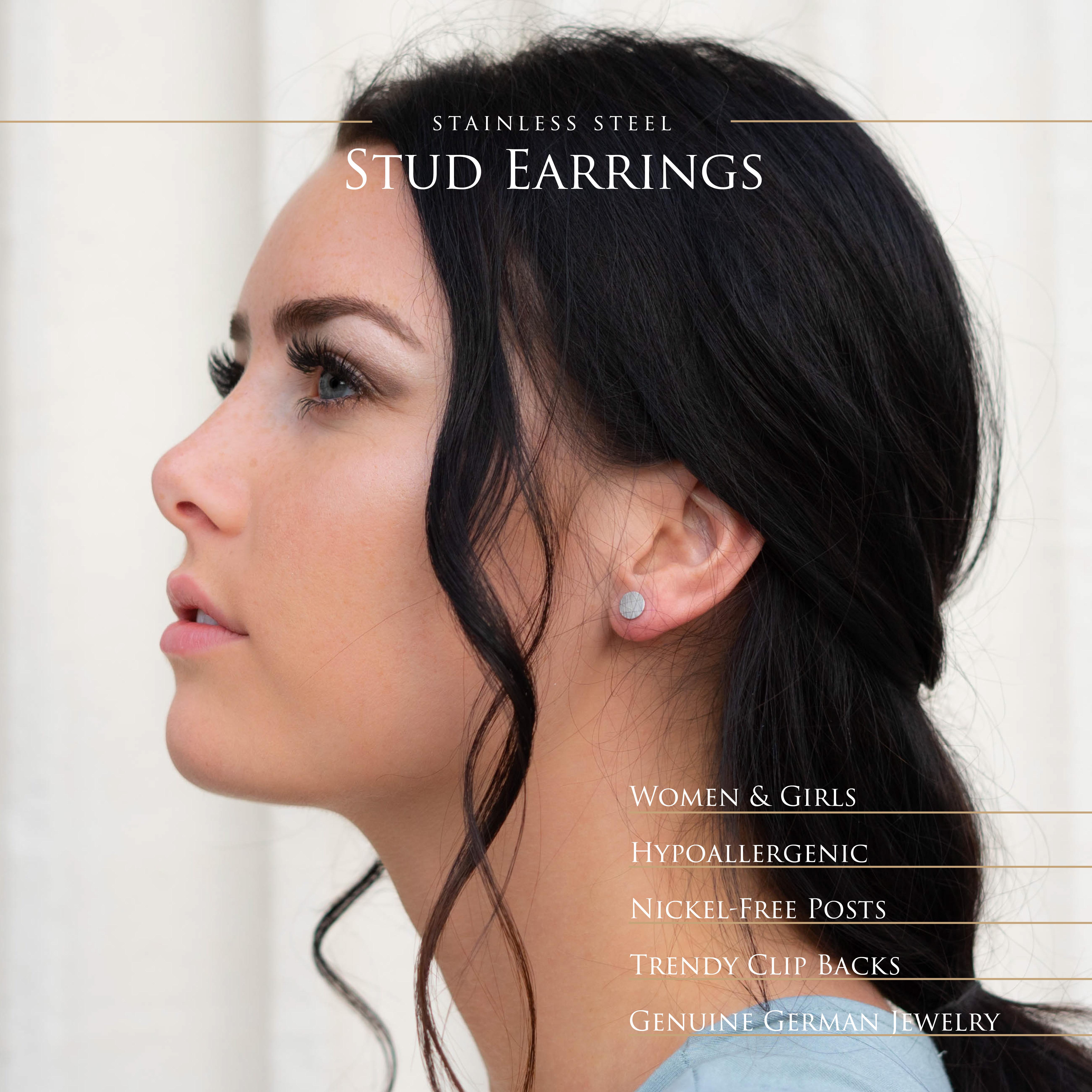 Ohrstecker-rund-gebuerstet-Silber-Rosegold-Gold-Edelstahl-Damen-klassisch-Ohrring Indexbild 7