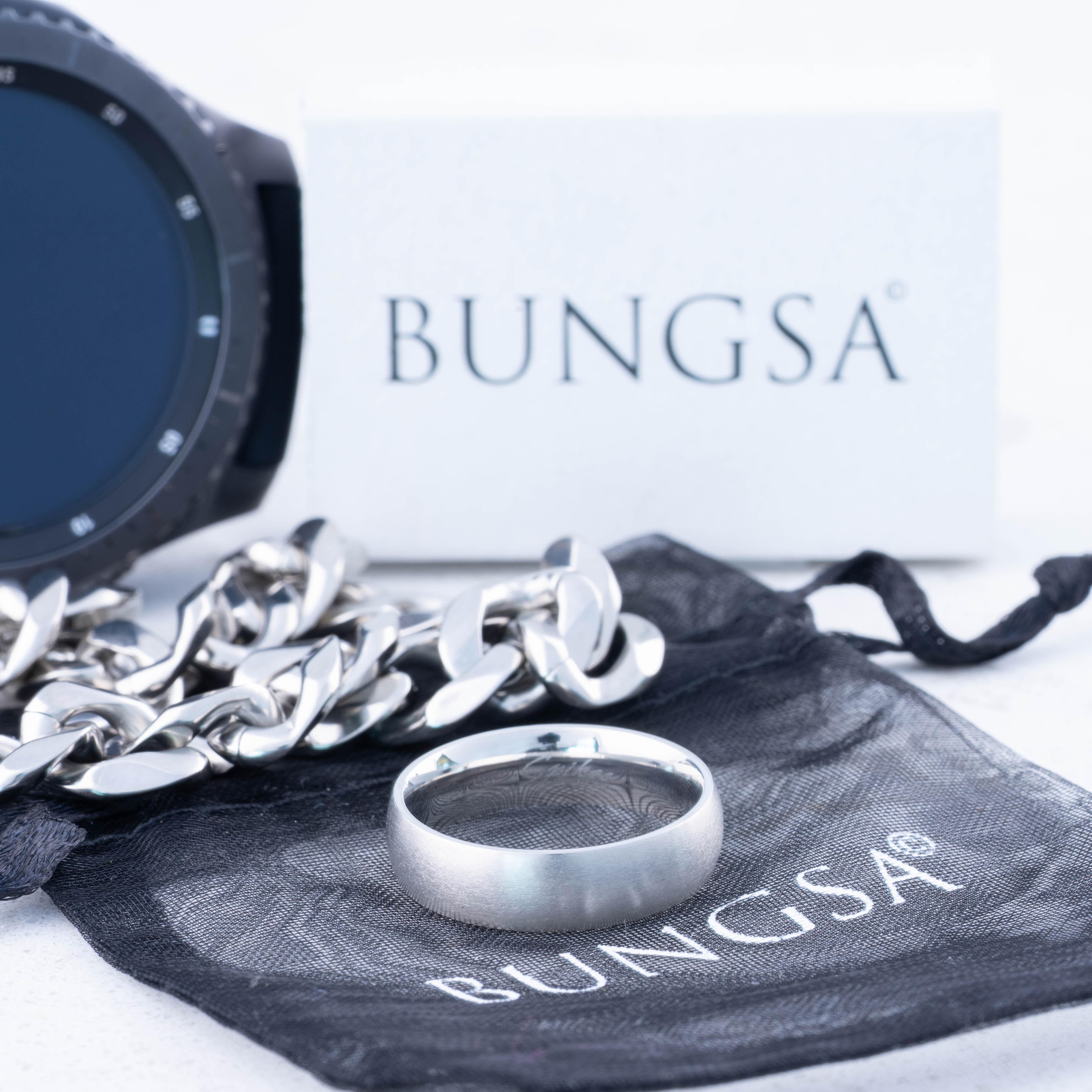 Ring-klassisch-matt-Silber-aus-Edelstahl-Unisex-Damen-Herren-Schwarz-Ringe-Gold Indexbild 237