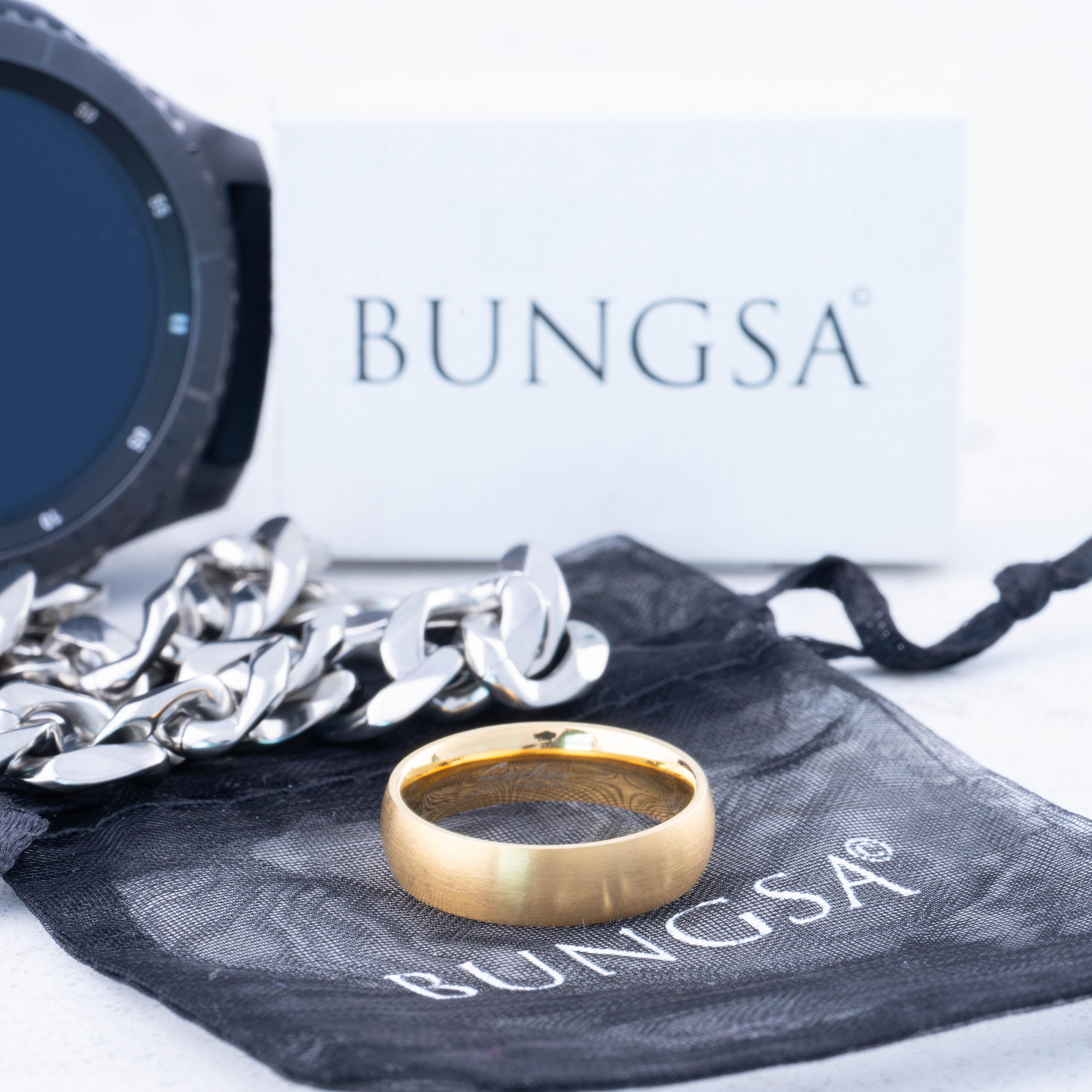 Ring-klassisch-matt-Silber-aus-Edelstahl-Unisex-Damen-Herren-Schwarz-Ringe-Gold Indexbild 125