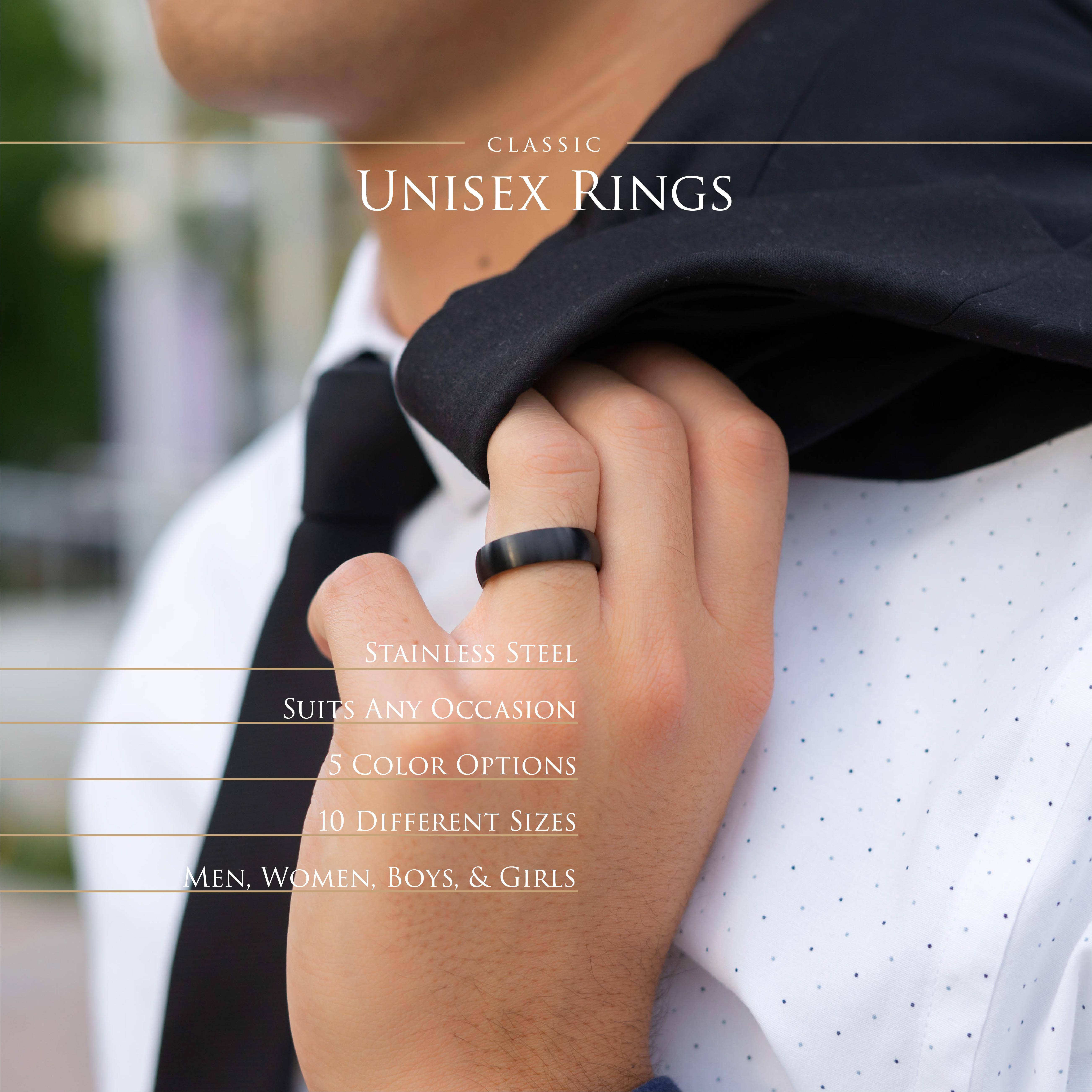 Ring-klassisch-matt-Silber-aus-Edelstahl-Unisex-Damen-Herren-Schwarz-Ringe-Gold Indexbild 182