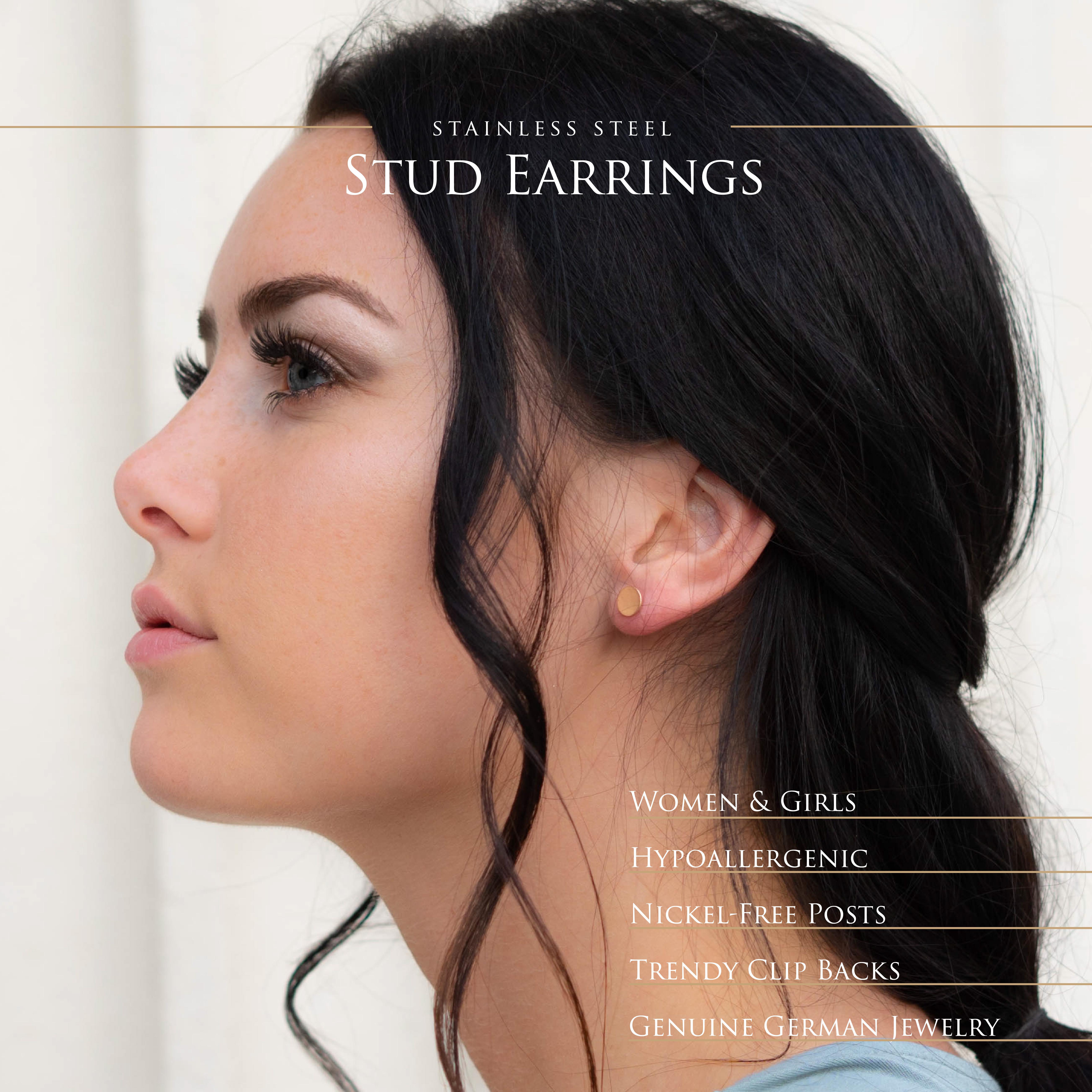 Ohrstecker-rund-gebuerstet-Silber-Rosegold-Gold-Edelstahl-Damen-klassisch-Ohrring Indexbild 15