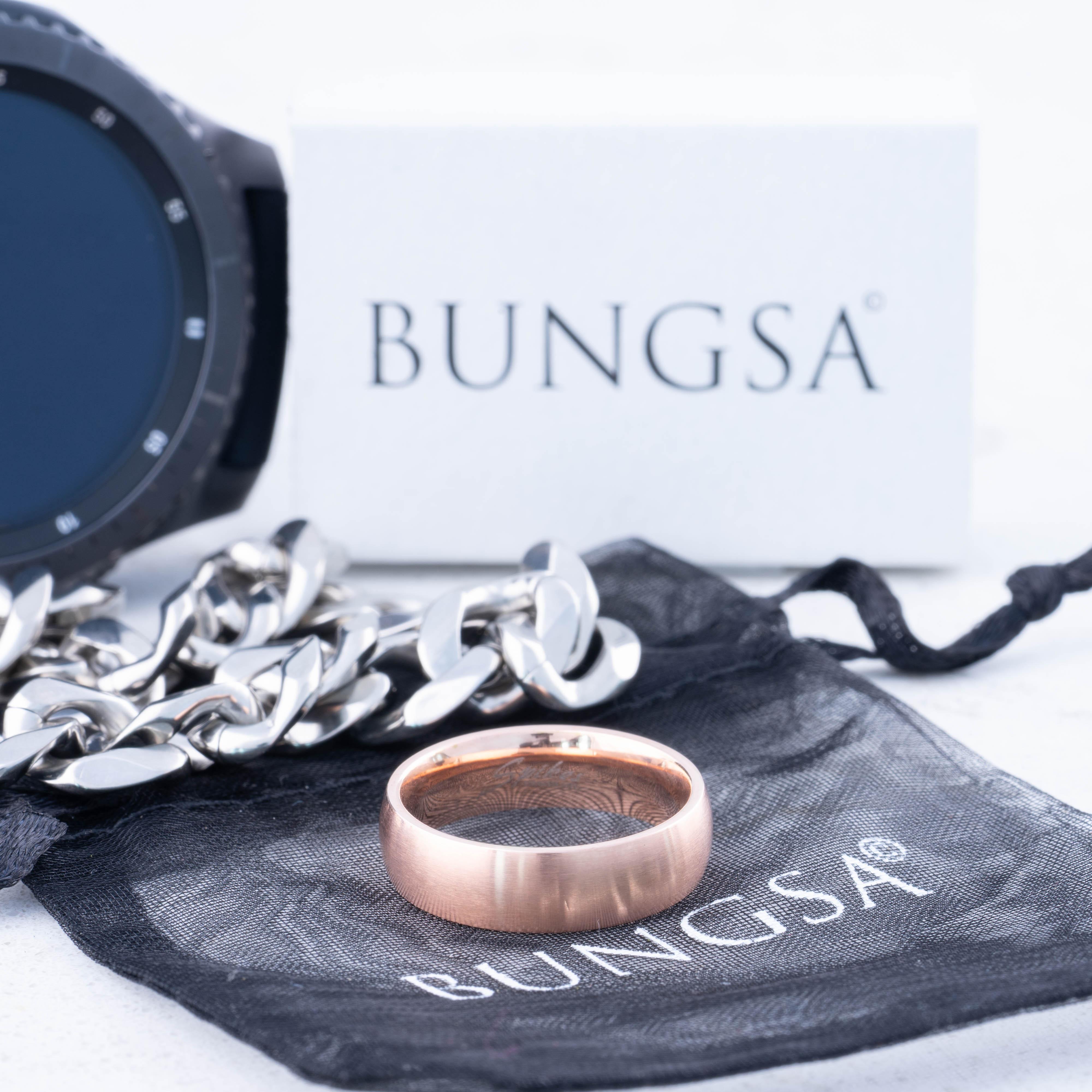 Ring-klassisch-matt-Silber-aus-Edelstahl-Unisex-Damen-Herren-Schwarz-Ringe-Gold Indexbild 6