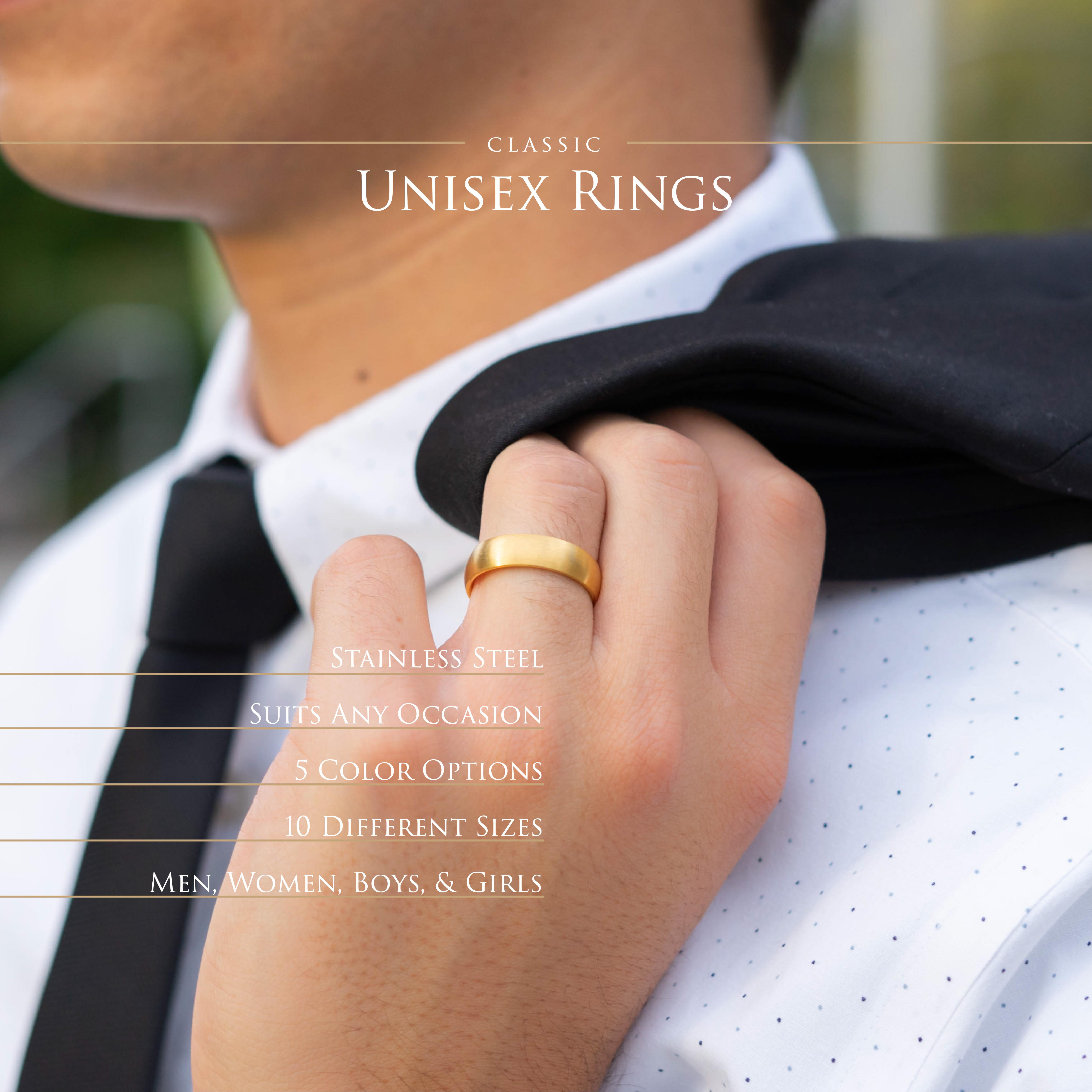 Ring-klassisch-matt-Silber-aus-Edelstahl-Unisex-Damen-Herren-Schwarz-Ringe-Gold Indexbild 126