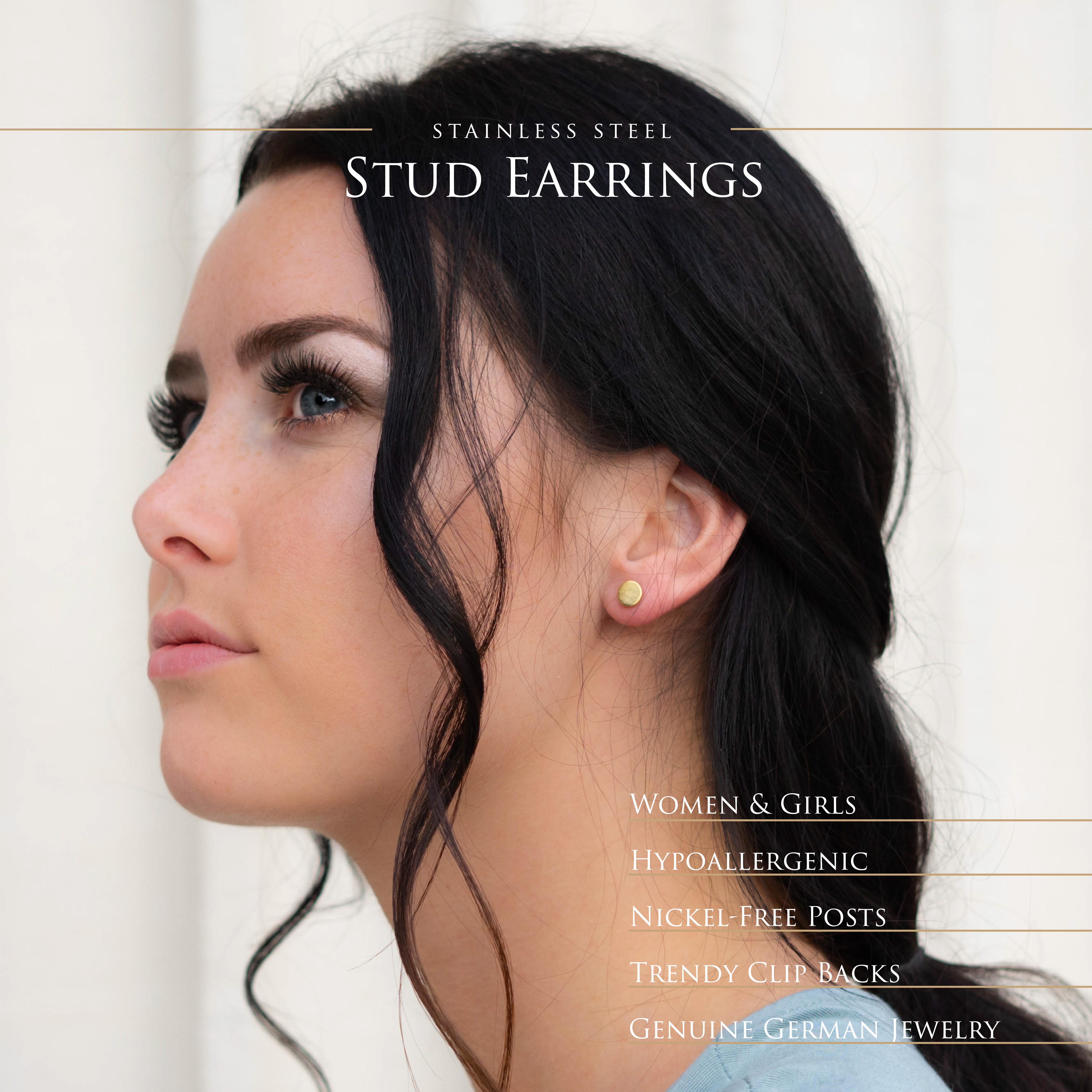 Ohrstecker-rund-gebuerstet-Silber-Rosegold-Gold-Edelstahl-Damen-klassisch-Ohrring Indexbild 22