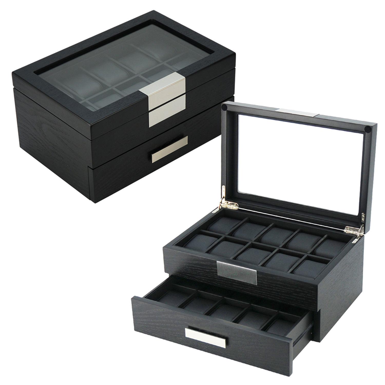Edle Holz Uhrenvitrine Uhrenbox für 20 Uhren stabile Holzuhrenschatulle