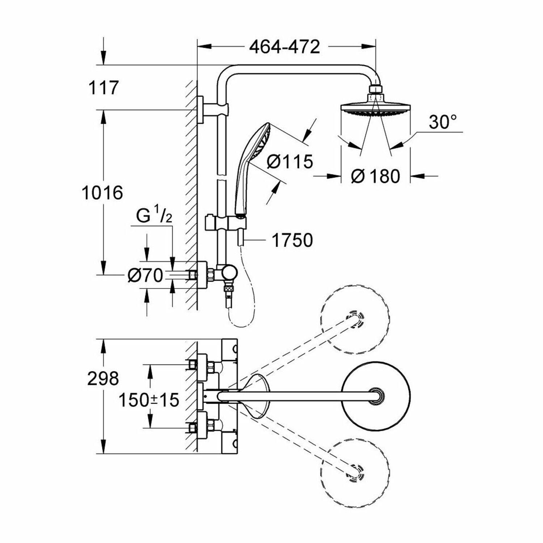 Détails sur Grohe Euphoria Système 180 de Douche avec Mitigeur  Thermostatique - 27296001