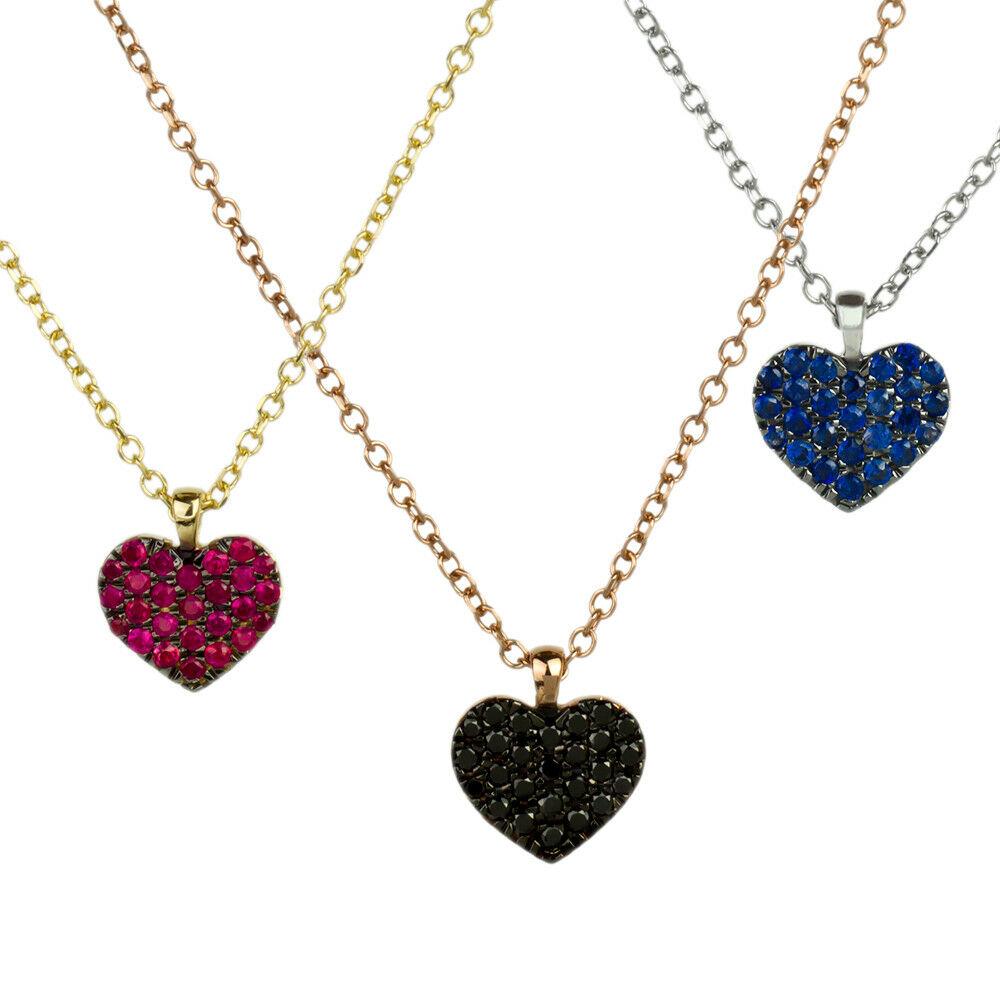 Collier Massiv Gold 585 Gold Kette mit Anhänger Herz Weißgold 14K Halskette 50cm