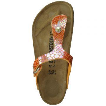 5239a669345852 Birkenstock Gizeh Damen Zehensteg Sandalette Shiny Snake Orange Gr 36 - 41