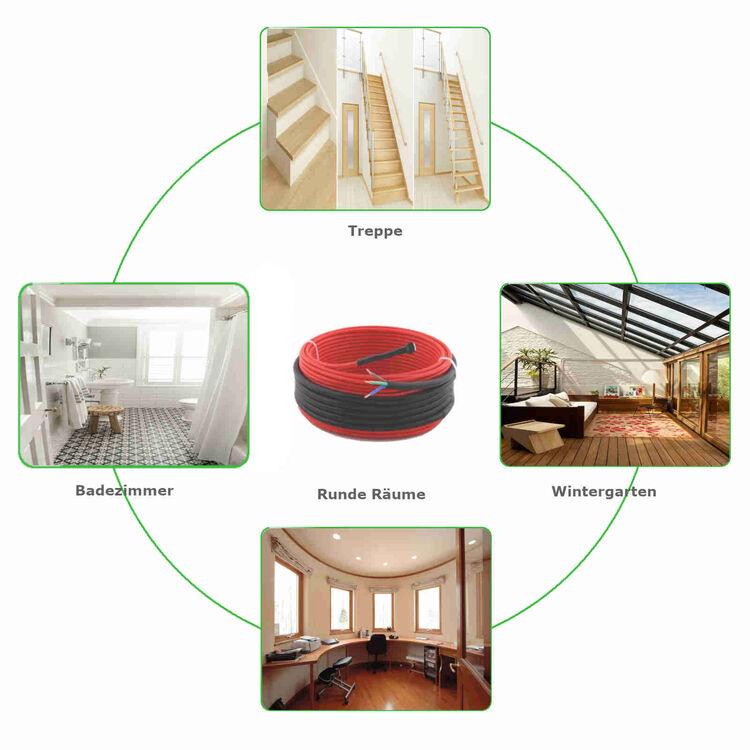 Elektrische Fußbodenheizung TWIN Heizkabel Heizleiter Fliesenheizung 0,8-18,5m²