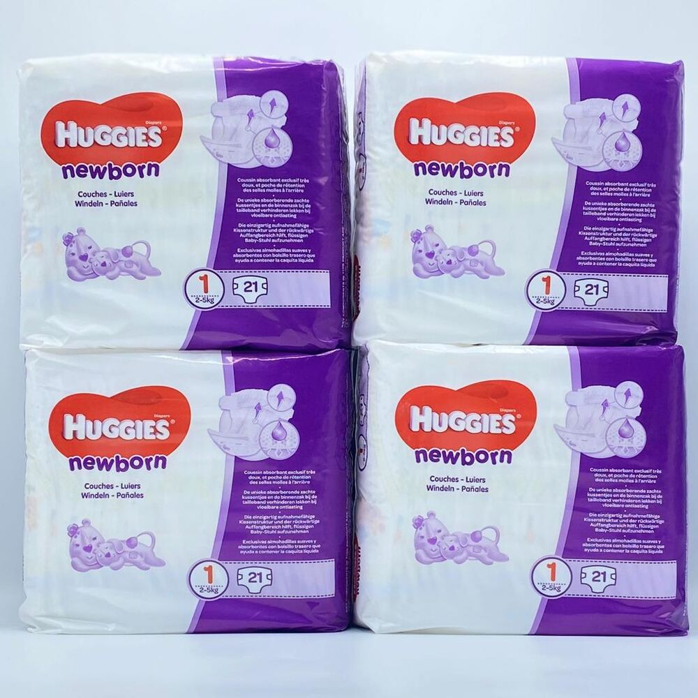Größe 1 1 x  84 Stück Huggies Newborn Baby Windeln für Neugeborene