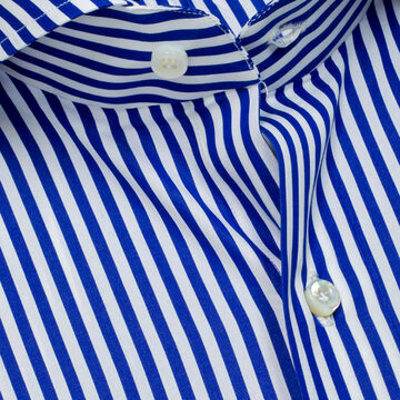 Finamore 1925 Shirt with Blue Block Stripes and Shark Collar Reg