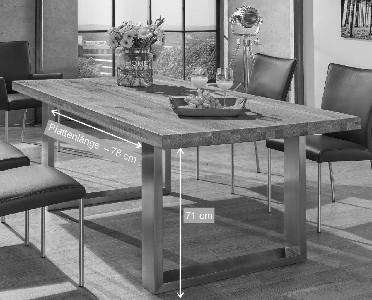 oakland esstisch 220x100 wildeiche bianco massiv ebay. Black Bedroom Furniture Sets. Home Design Ideas