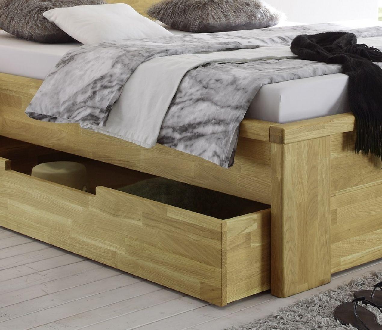 salerno bett mit schubladen 140x200 wildeiche massiv ge lt ebay. Black Bedroom Furniture Sets. Home Design Ideas