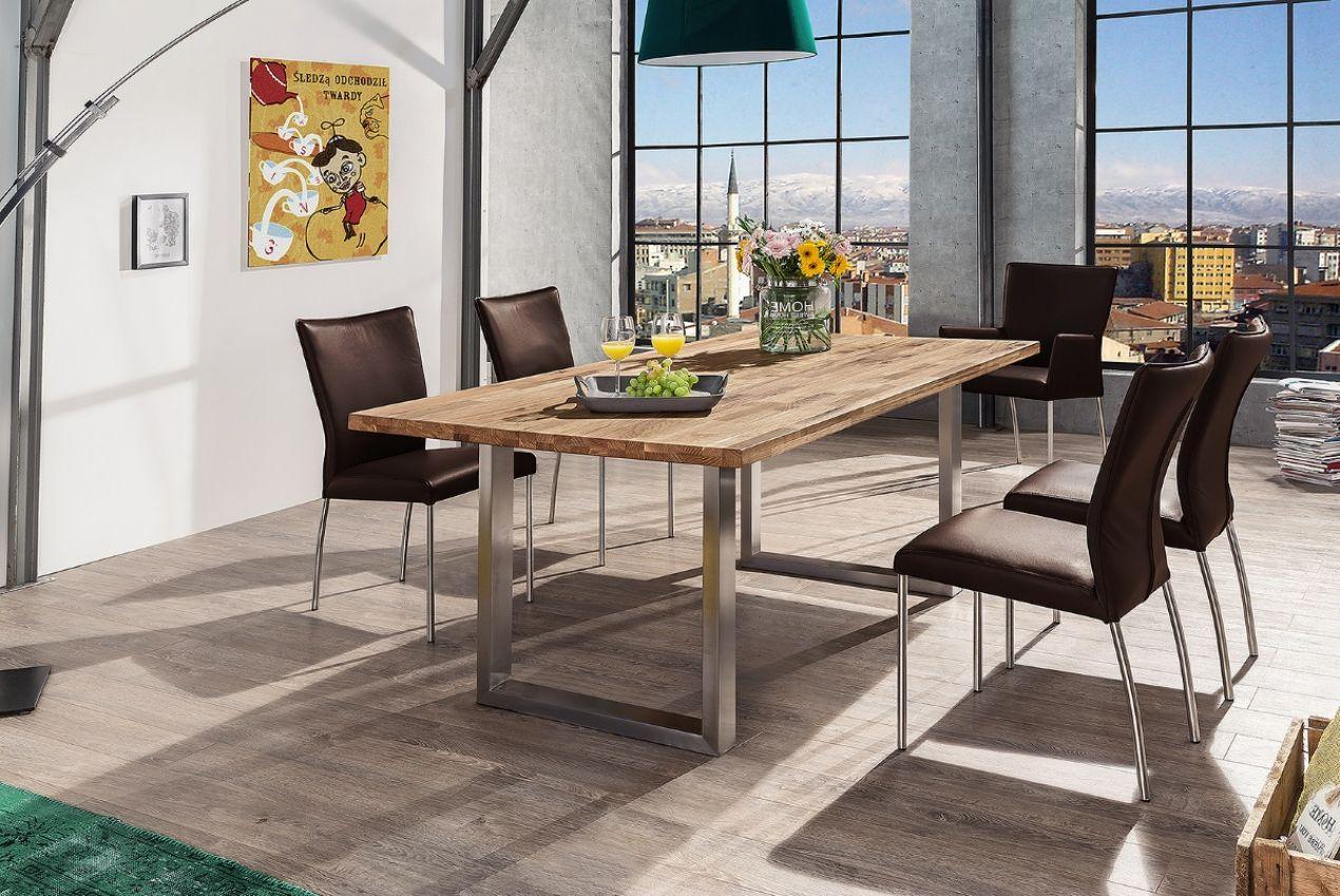 Steel 2 kufentisch esstisch 160x90 wildeiche massiv for Esstisch 160x90