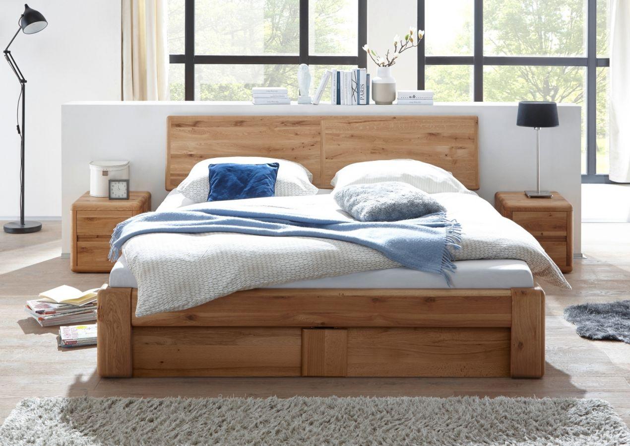 verona bett 200x200 wildeiche massiv mit bettkasten und lattenrost ebay. Black Bedroom Furniture Sets. Home Design Ideas