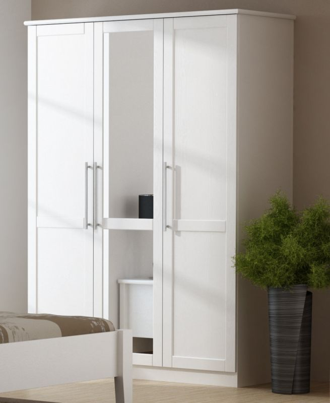 paula schlafzimmer set schrank 3 trg bett 180x200 cm kiefer wei lackiert ebay. Black Bedroom Furniture Sets. Home Design Ideas