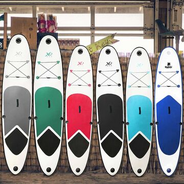 SUP von XQ Max verstellbares Paddel und wasserdichte 2L Tasche komplettes Set mit Pumpe Professionelles Stand up Paddel Board Flickwerkzeug Fu/ßleine 320cm
