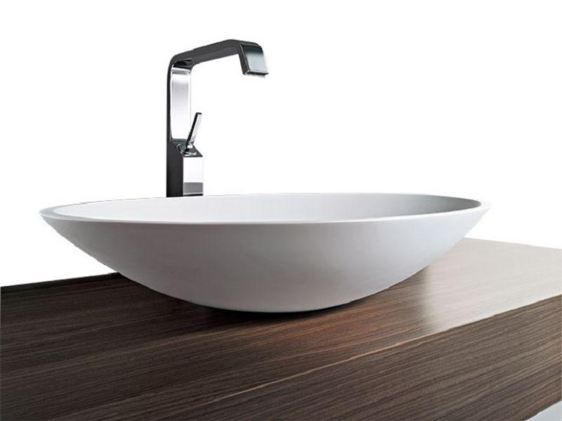 """Waschbecken Mineralguss Aufsatz Waschschale /""""Sindir/"""" 580x420x120 mm oval"""