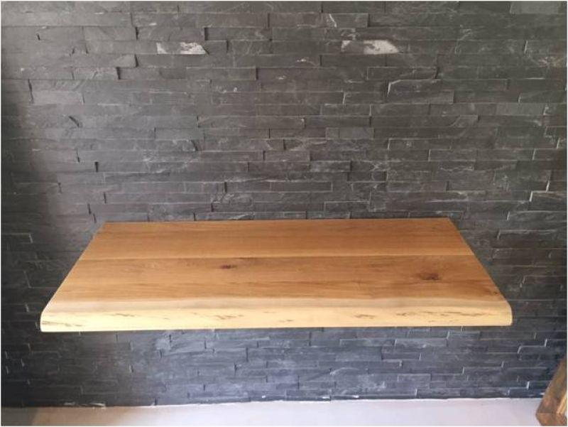 Eiche massiv echtholz waschtischplatte mit baumkante ge lt badm bel 120x50 cm ebay - Waschtischplatte echtholz ...