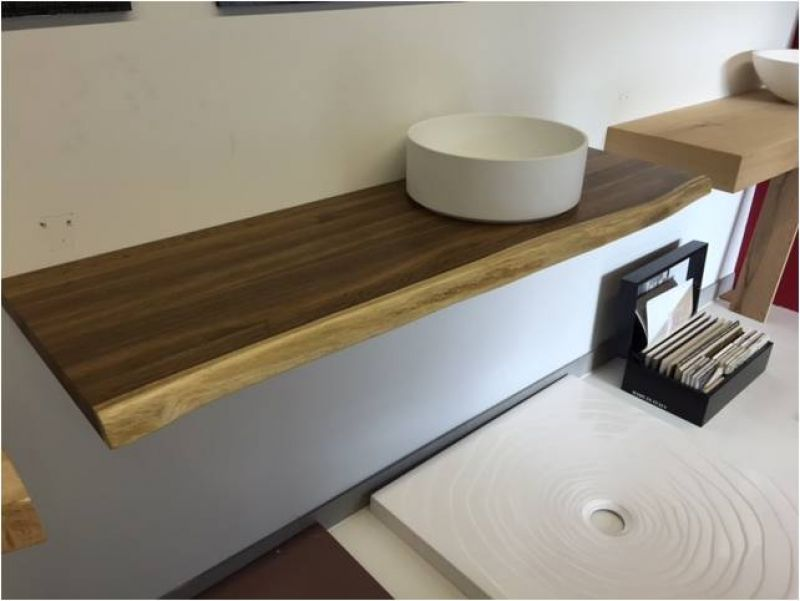 Echtholz waschtischplatte eiche mit baumkante ger uchert lackiert 140x45x4 cm ebay - Waschtischplatte echtholz ...
