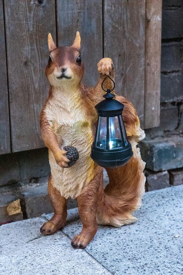 Solar Leuchte Gartenfigur Eichhörnchen Tier Figur Gartdendeko mit Laterne 47 cm