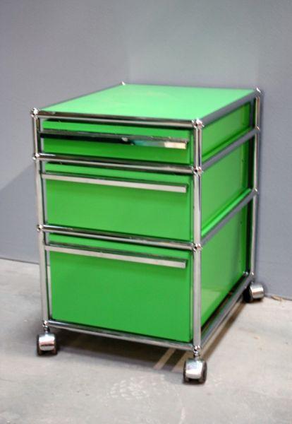 Details zu USM Haller Rollcontainer grün 3 Schubladen