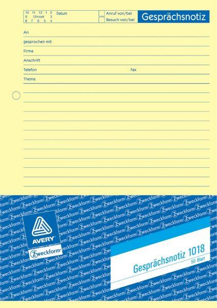 Avery Zweckform 1018 Gesprächs-Notiz DIN A5 50 Blatt Protokoll ...