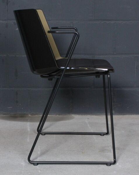 Details zu MDF Italia AIKU Design Stuhl Dining Chair Lack schwarz, Olivgrün Sitzkissen blau