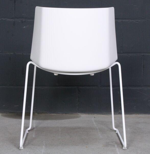 Details zu MDF Italia AIKU Design Stuhl Dining Chair Lack weiss, taubengrau Sitzkissen weiß