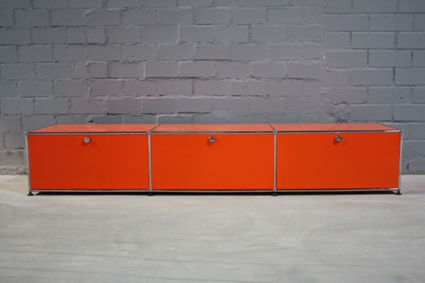 usm haller lowboard regal medienboard hifi board orange mit 3 klappen tv regal ebay. Black Bedroom Furniture Sets. Home Design Ideas