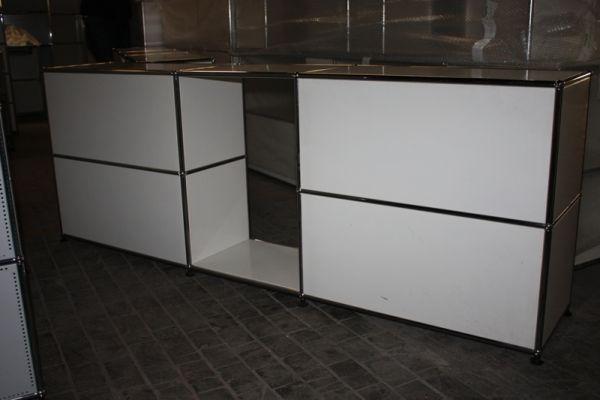 USM Haller Sideboard mit Mittelsteg 75 mit 50cm offen Raumteiler Regal weiß