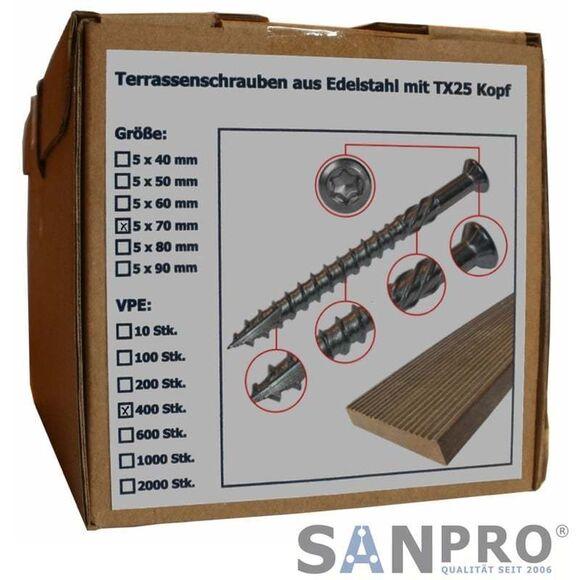 400 x Terrassenschrauben 5x90 VA Edelstahl Torx Holzschrauben Terasen-Schrauben
