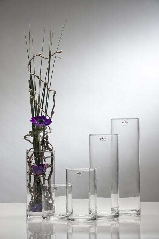 CRISTALICA Glasvase Dekovase Zylindervase rund Transparent Glas H/öhe 30cm