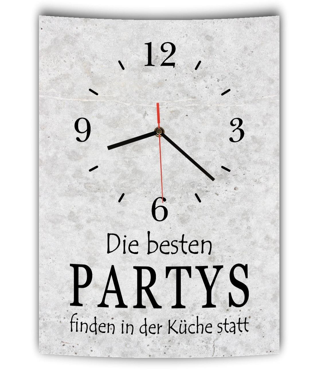 LAUTLOSE DESIGNER WANDUHR mit Spruch Die besten Partys ...