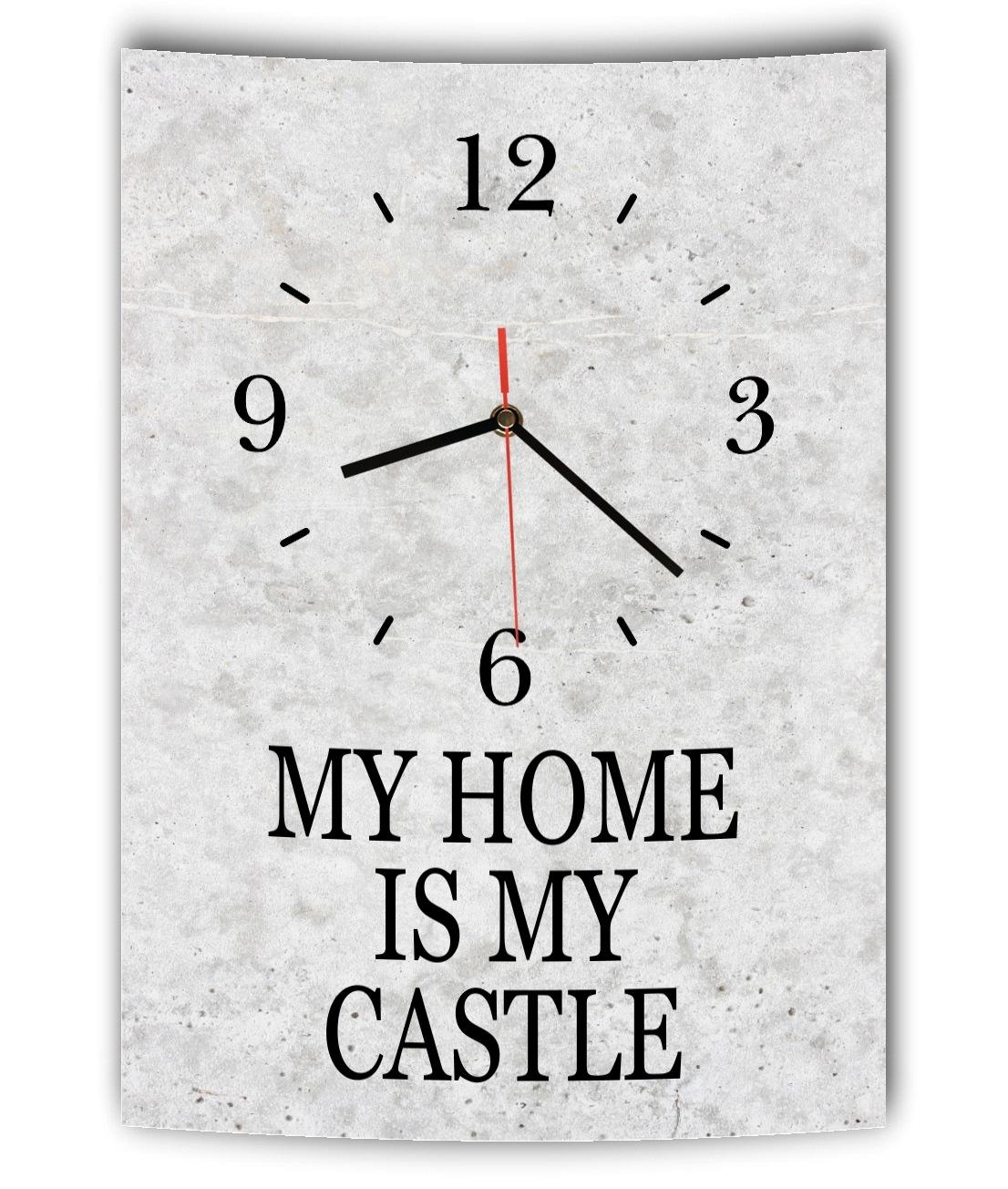 lautlose designer wanduhr mit spruch my home is my castle grau